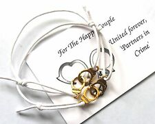 2 x Unisex FRIENDSHIP Bracelets - UNITED Forever 'PARTNERS in Crime' Handcuffs