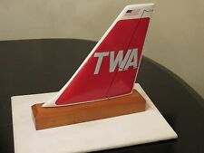 TWA AIRLINE WOOD MODEL AIRPLANE TAIL FOR DESK TRANS WORLD PILOT CHRISTMAS GIFT