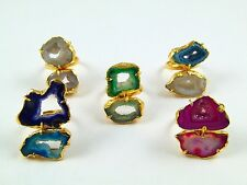 18K GOLD PLATED GEODE SLICE DRUZY RING ALLOY GEMSTONE 5 PCS OVERLAY LOTS JEWERLY