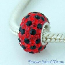 RED AND BLACK LADYBUG CZ CRYSTAL .925 Sterling Silver EUROPEAN Bead Charm