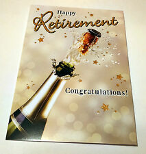 HAPPY RETIREMENT CONGRATULATIONS CARD Champagne Gold Glittery TIME TO CELEBRATE!