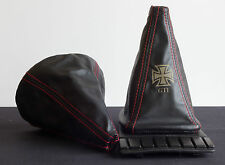 VW Golf MK2 and MK3 Leather Gearstick Gaiter with Laser Etched Iron Cross GTi