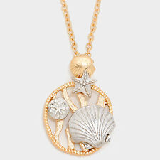 Sea Life Necklace Shell Coral Disc CLAM SHELL Sand Dollar Filigree GOLD 2 TONE