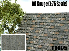 2 x A4  OLD SLATE ROOF WALL PAPER 00 GAUGE MODEL RAILWAY BUILDINGS FBR05