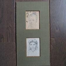 DESSIN ORIGINAL VERS 1940 HENRI ANTOINE LEOPOLD DE MOULIGNON PORTRAITS ENFANTS