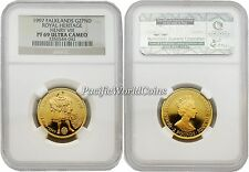 Falkland Islands 1997 Royal Heritage Henry VIII 2 Pounds 1/4 oz Gold NGC PF-69