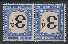 South Africa 1914 3d black & bright blue due ~ MINT PAIR INVERTED wmk ~ sgD4w