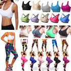 Women Workout Sports Crop Top Stretch Yoga Fitness Running Capri Pants GYM Wear