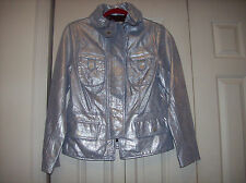 NWT BRADLEY BAYOU Women's Blue/Silver Leather Jacket Size XS/S