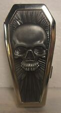 Coffin Biker Metal Cigarette Case, Silver, Raised Skull/Feathers, BRAND NEW