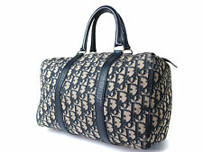 Auth Christian Dior Troter Pattern Canvas Leather Mini Boston Bag DB12630L