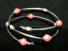 Pink Pearl Glass and Silver Memory Wire Coil Wrap Beaded Bangle Bracelet