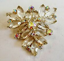 Vintage  Rhinestone Brooch Clear Marquis Open Back AB Accents Triangle