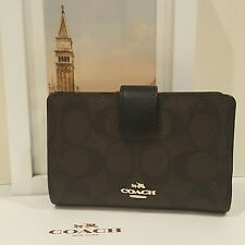 New Coach Signature PVC Medium Corner Zip Wallet Brown /Black  F54023 $165