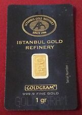 Lingot OR PUR 1 gramme 24k 999/1000 Gold Bar 1gramm Oro 1gr