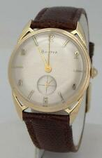 MENS VINTAGE 10K GOLD PLATE BULOVA ROUND FANCY LUG LEATHER SILVER DIAL WATCH 32m