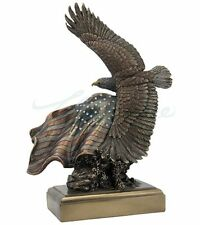 Bald Eagle Statue With American Flag Sculpture Figurine Bronze Finish