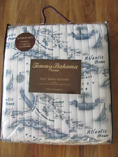 Tommy Bahama Home Caribbean Sea Map Quilt Set-Sky Blue-Full/Queen with Shams-New