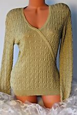 CHARTER CLUB (M) Sweater Stretch 53% SILK Pullover Gold Metallic Thin Knit Top