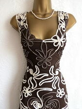 Phase Eight brown tapework plunge dress size 10