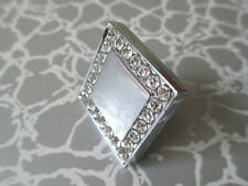 Glass Drawer Dresser Knob Kitchen Cabinet Knobs Rhinestone Silver Square Clear