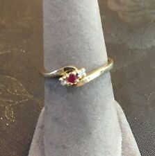 10k Gold Ruby And Diamond Ring Sz 6.5
