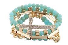 Wholesale 12 Piece Turquoise & Goldtone Bundle Iced Out Cross,Link& Bar Bracelet
