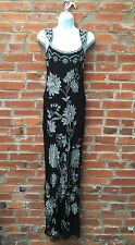 Vintage Adrianna Papell Beaded Silk Evening Gown Womens Black Silver (834)