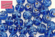 10x Blue Beads Czech Lampwork Givre 12mm Unusual Feature - Beautiful Quality