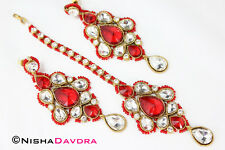 Red Tikka Earrings Set Bellydancer Bollywood India Gold