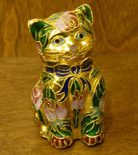 Victorian Treasures #A205-3 CAT SITTING, green/pink, NEW from Retail Shop