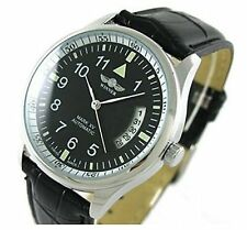 Fanmis Men's Sport Day Date Black Leather Automatic Self Winding Watch