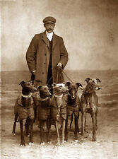 GREYHOUND CHARMING DOG GREETINGS NOTE CARD , MAN WITH GROUP OF FIVE DOGS