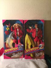 Baywatch Barbie Lot Of 2 Lifeguard Barbie  Lifeguard Ken  1994