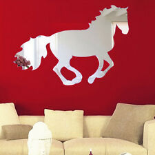 Galloping Horse DIY Mirror Wall Clock Wall Sticker Home Decoration Elegant