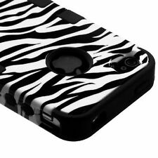 For iPhone 4 4S Rubber IMPACT TUFF HYBRID Case Skin Phone Cover Zebra