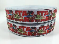 "BTY 7/8"" Mickey Mouse Star Wars Grosgrain Ribbon Hair Bows Lisa"
