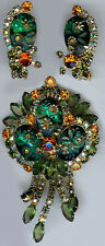 JULIANA WOW CARVED GREEN GLASS FLOWERS ORANGE DANGLE RHINESTONE PIN & EARRINGS