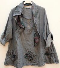 New Italian lagenlook Ladies Grey Cotton floral tunic top & scarf 16 18 20 22