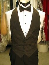 Mens Formal Vest Black Matching Bow Tie Included Size Medium