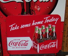"COCA - COLA TAKE SOME HOME TODAY TIN TRIVET CARDBOARD BACKED 8 1/2"" X 6 1/2"""