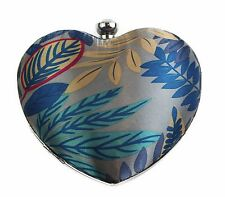 HEART SHAPE PRINTED HARD CASE WOMENS FLORAL MULTICOLOURED CLUTCH HAND BAG