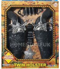 TWIN HOLSTER CLICK ACTION WESTERN RIDER PISTOLS GUNS COWBOY KIDS BOYS TOY 2329