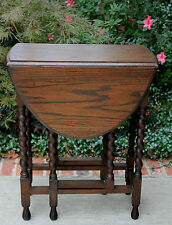 Antique English Oak OVAL Barley Twist Drop Leaf Gate Leg Small End Table #1