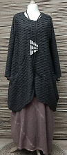 LAGENLOOK OVERSIZE*MB GERMANY*QUIRKY WAFFLE EFFECT TUNIC*ANTHRACITE*SIZE 1 L-XL