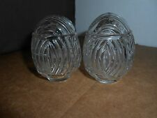 2 VTG/ANTIQUE USA ART DECO CLEAR GLASS BIRD CAGE FEEDER/SEED/WATER CUPS/BOWLS