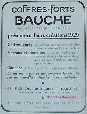 PUBLICITE BAUCHE COFFRES FORTS VERROUS SERRURES CADENAS DE 1929 FRENCH AD PUB
