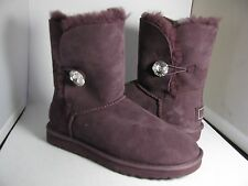 "sz 7/ 38 NEW UGG BAILEY BUTTON ""BLING""  ""PORT"" PURPLE W/ SWAROVSKI WOMENS BOOTS"