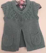 Monsoon Girls Green Sleeveless Button Up Cardigan. Age 6-8 Years. Cotton/Alpaca