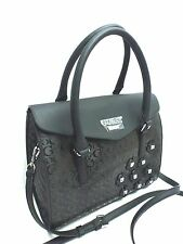 GUESS Women's Handbag *Society* Black w/G Logo Print Satchel Shoulder Purse New